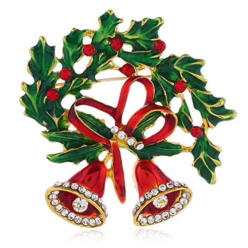Vanjewnol Christmas Pins and Brooches for Women Christmas Bowknot Double Bells Brooch Christmas Wreath Brooch Vintage Gold Rhinestone Brooch for Girl