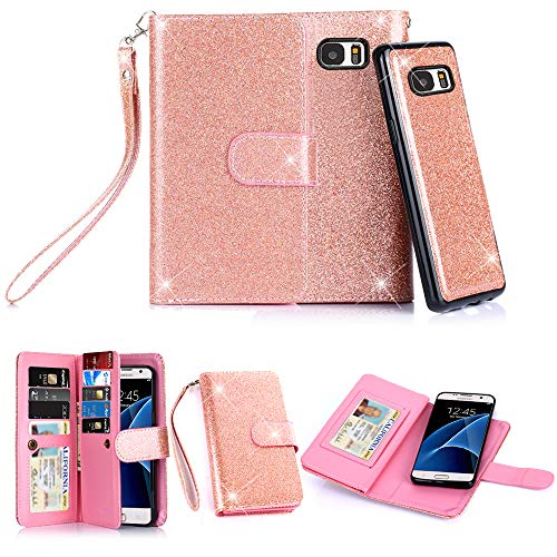 Galaxy S7 Case, TabPow 10 Card Slot - [ID Slot] Wallet Folio PU Leather Case Cover With Detachable Magnetic Hard Case For Samsung Galaxy S7 Case, - Glitter Rose Gold