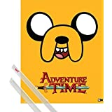 Poster + Hanger: Adventure Time Mini Poster (20x16 inches) Jake And 1 Set Of Transparent 1art1® Poster Hangers
