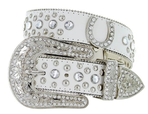Western Cowgirl Horseshoe Charm Bling Belt with Rhinestone Studded Buckle and Strap (32, (Bling Belt Buckle)