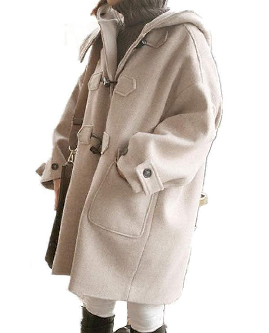 Women Midi Side Waist Pockets Hooded Single Breasted Pea Coat