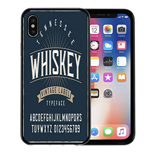 Emvency Phone Case for Apple iPhone Xs case,Western Vintage Label Typeface Named Tennessee Whiskey Good Handcrafted for Any Irish for iPhone X Case,Rubber Border Protective Case,Black ()