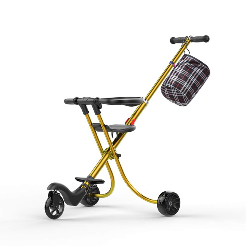 赤ちゃんの子供の三輪車トロリーアルミニウム合金シンプルな軽量折りたたみシャンパンゴールド (色 B07GZR94DP B : B) B) B B07GZR94DP, プラザ オンライン:e5e4d69d --- ijpba.info