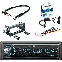 Kenwood Single Din CD/AM/FM Car Audio Receiver with Bluetooth SiriusXM Satellite Radio Vehicle Tuner Kit, Scosche Dash Kit, Scosche GM Micro/Delco Antenna Adapter and Scosche Radio Wiring Harness