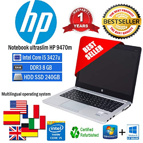 Ordenador Portatil Ultraslim HP Folio 9470 m Intel Core i5 3427U 1.80 GHz/8GB/SSD 240 GB/Web/Win 10 Pro (Certificado y General para embragues)