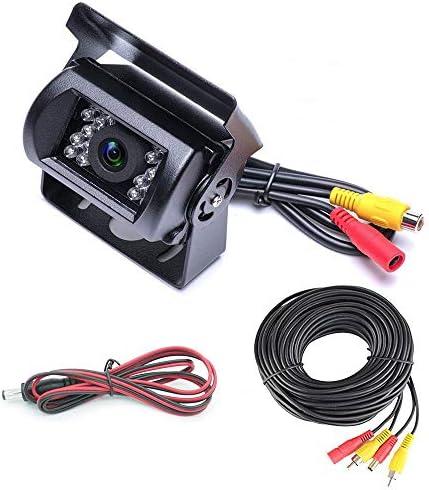 Sunny 車載バックカメラ+20m映像ケーブルセット RCA信号専用 LED18灯暗視機能 角度調整 12V/24V対応 20mケーブル トラック 大型 重機に (ガイドライン無し)