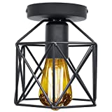Industrial Vintage Style Rustic Semi Flush Mount Ceiling Light Mini Retro Pendant Lighting Hanging Ceiling Light Fixture Oil Rubbed Bronze Finish Metal Cage Lamp Shade with Wire for Indoor O