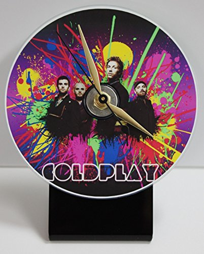 COLDPLAY PICTURE CD DESK CLOCK WITH BLACK ACRYLIC BASE