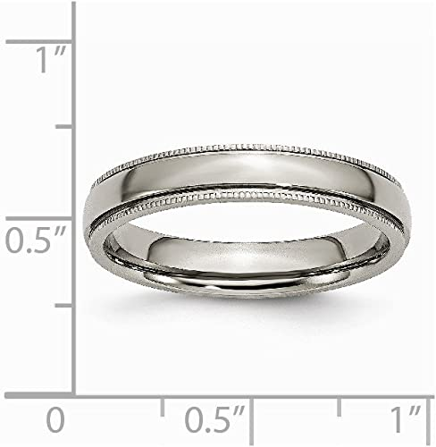 Brilliant Bijou Titanium Grooved and Beaded Edge 4mm Polished Band