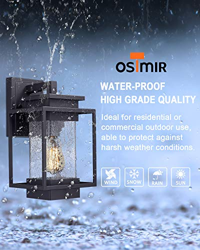 Osimir Outdoor Wall Sconce Light Fixture, 1 Light Exterior Wall Lantern in Black Finish with Crackle Glass Lamp Shade… - HIGH QUALITY OUTDOOR WALL MOUNT LIGHT: Made of sturdy metal construction in black finish, crackle glass lamp shade. Can be easily to match with other decoration style. Ideal for porch, patio, garden, corridor, balconies, terraces, garage door, villa, open field, entryway. WATERPROOF, WEATHER RESISTANT AND RUST RESISTANT: This outdoor wall sconce is ideal for residential or commercial use, able to protect against harsh weather conditions. HARD WIRED: Requires 1x E26 base, A60/ST58/G45 type bulb (Max 60W), Bulb NOT included.Compatible with LED bulb, Incandescent or CFL bulb. - patio, outdoor-lights, outdoor-decor - 51ds4EBL4zL -