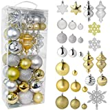 RN'D Christmas Snowflake Ball Ornaments - Christmas Hanging Snowflake and Ball Ornament Assortment Set with Hooks (Gold & Silver)