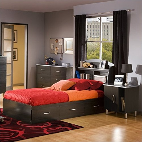 South Shore Cosmos Kids Twin Wood Bookcase Bed 3 Pc Bedroom Set in Black Onyx/Charcoal by South Shore
