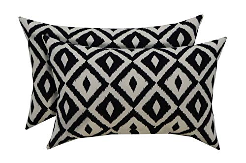 RSH Décor Indoor Outdoor Set of 2 Decorative Rectangular Lumbar Throw Pillows ~ Black and White Aztec Geometric Fabric (20