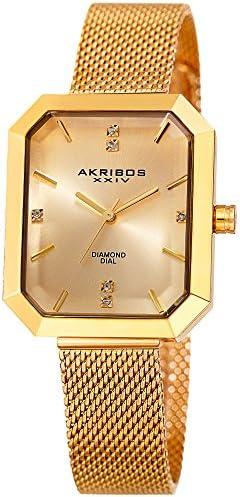 Akribos XXIV Women s Octagonal Watch – Genuine Diamond Markers on a Stainless-Steel Mesh Bracelet – AK909