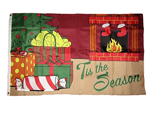 ALBATROS 3 ft x 5 ft Merry Christmas inTis The Season Fireplace Gifts Holiday Flag Banner for Home and Parades, Official Party, All Weather Indoors Outdoors