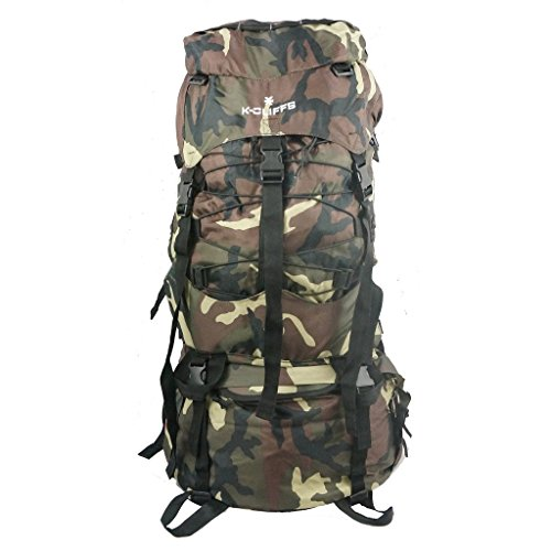 K-Cliffs Hiking Internal Frame Camping Backpack Scout Daypack Outdoor Mountain Travel Bag with Rain Cover, Large, Camo