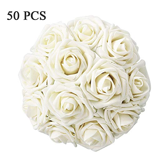 HEBE Artificial Rose Flowers Head 50pcs Real Looking Fake Roses with Stem for DIY Wedding Bouquets Centerpieces Arrangements Party Baby Shower Home Decor ()