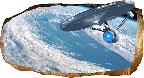 Startonight 3D Mural Wall Art Photo Decor Star Trek Explorer Amazing Dual View Surprise Large 32.28 inch By 59.06 inch Wall Mural Wallpaper for Living Room or Bedroom Space Collection Wall (Halloween Decor Hobby Lobby)