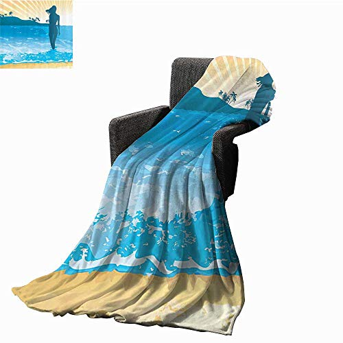 - Anmaseven Beach The Original Vellux Blanket Summer Vibes Girl Near The Sea Shore Ocean Palms Waves Sunny Art Print All Season Premium Bed Blanket 60