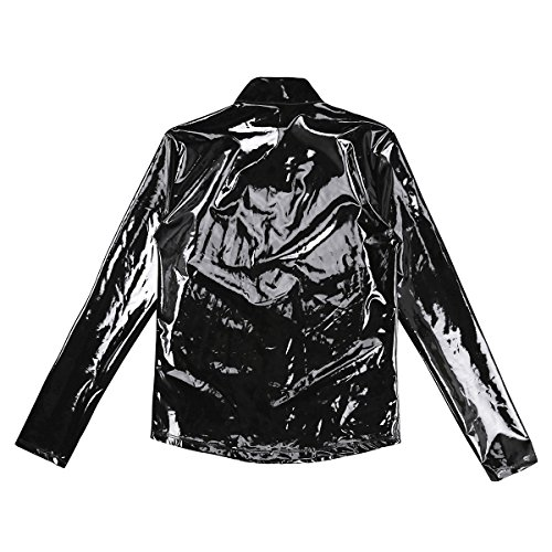 Agoky Men's Metallic Faux Leather Front-Zip Mock Neck Nightclub Style T-Shirt Top Coat Black XX-Large by Agoky (Image #5)