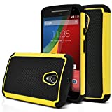 Moto G 2nd Gen Case, MagicMobile [Dual Armor Series] Hybrid Impact Resistant Moto G 2nd Generation Shockproof Tough Case Hard Plastic with Silicone Protective Case for Moto G 2 (2014) [Black/Yellow]