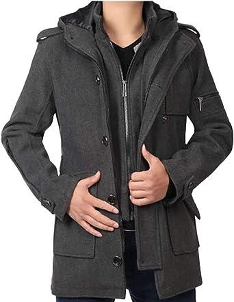 Manteau Chaud en Laine pour Long /À Capuche Parka Hommes /Único Trench-Coat Manteau dhiver Manteau pour Hommes Manteau Veste Homme V/êtements De Dessus