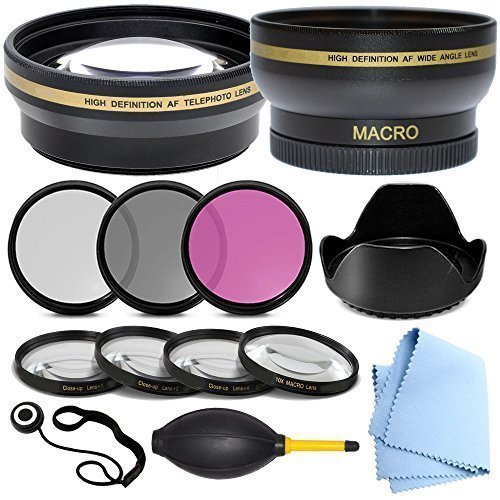 Professional 58MM Lens Accessory Kit for Canon, Panasonic, Nikon, Sony, Fuji, Kodak - Includes: 58 mm Close-Up Lens Kit, 58mm Wide Angle Lens, 2.2x Telephoto Lens, Glass Filter Kit & More by Shop Smart Deals