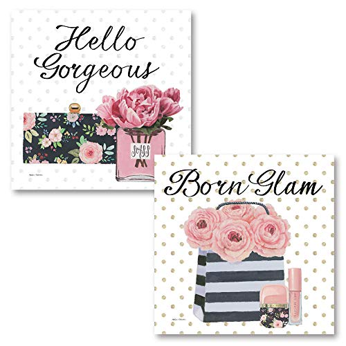 The Studio Resource, Inc. Glam Girl Power Boss Babe Hello Gorgeous' and 'Born Glam' Inspirational Beauty Set; Two 12x12in Unframed Paper Posters