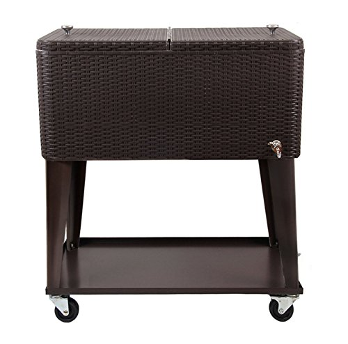 Clevr 80 Qt Outdoor Patio Rolling Ice Chest Cooler Cart, Dark Brown Wicker Faux Rattan   Portable Party Drink Beverage Bar Cold   Wheels with Shelf & Bottle Opener by Clevr (Image #6)
