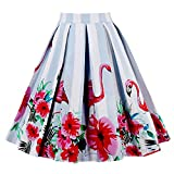 DressLily High Waist Animal Floral Print A Line Skirt,RED,S