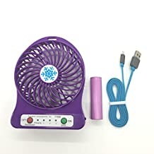 Damast Portable Mini Fan 4-inch 4 Vanes 3 Speeds Purple
