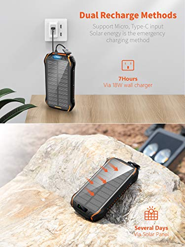 Solar Charger Wireless Portable Charger 18W with 5 Outputs /& Type-c Input 4 Lighting Modes Super Bright Flashlight Waterproof Phone Charger for Camping Outdoor Solar Power Bank 30000mAh
