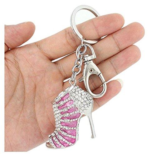Crystal Rhinestone Diamante High Heel Shoe Decoration Chain for Phone Car Bag Key Ring keychain Charm Gift - Perfect for Women Ladies Girls' Phone Key Bag Pink
