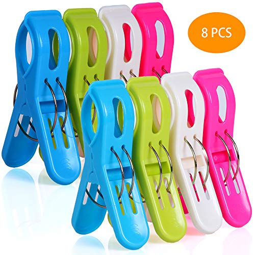 Ostrichy Beach Towel Clips for Pool Chairs, Plastic Beach Chair Clips, Towel Clips for Beach Chairs Cruise, Fashion Bright Color Pool Chair Clips, 8 Pieces Oversized Beach Towel Clips