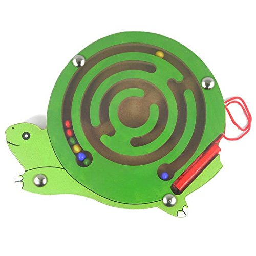 Elloapic Mini Round Wooden Round Magnetic Maze Puzzle Interactive maze Magnet Beads Maze on Board Game Eduactional Handcraft Toys Tortoise