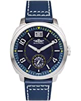 Balmer Swiss Made Stratos Mens Watch - Blue Leather Strap, Silver Case, Blue/Yellow Dial