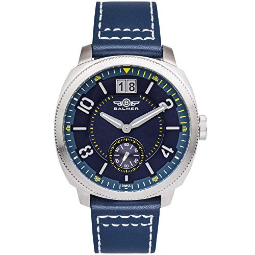 (Balmer Swiss Made Stratos Mens Watch - Blue Leather Strap, Silver Case, Blue/Yellow Dial)