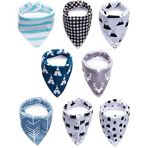 Baby Bandana Drool Bibs, Unisex 100% Absorbent Soft Cotton Bibs Baby Shower Gift