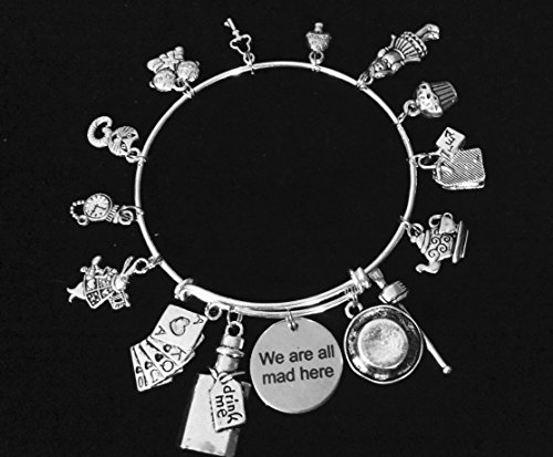 (We Are All Mad Here Silver Expandable Charm Bracelet Adjustable Wire Bangle Silver Plated Charms and Bracelet)