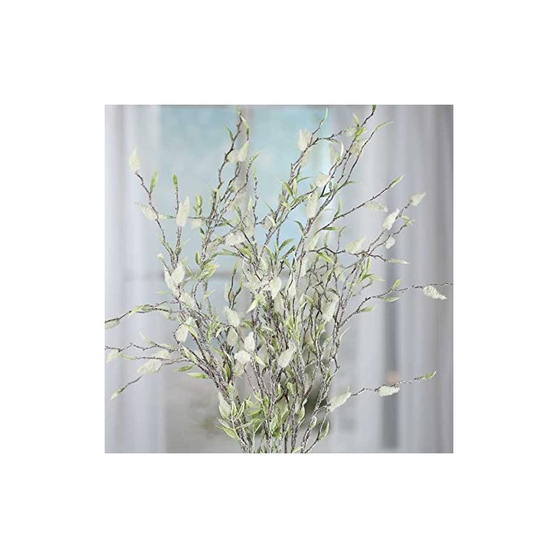 silk flower arrangements factory direct craft sparkling frosted artificial pussy willow spray for home decor, creating and designing