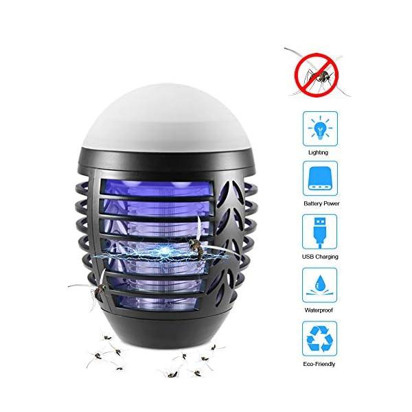 ZOTO Lampada Antizanzare, Zanzariera Elettrica con Batteria Ricaricabile USB 2200mAh, IP66 Impermeabile Lanterna Zanzare… 1 spesavip