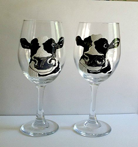 2 Dairy Cow Hand Painted Stemmed Wine Glasses Set