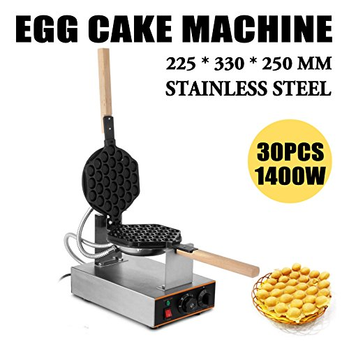 VEVOR Electric Egg Puffle Waffle Maker 1400W 110V Nonstick Eggettes Maker Making Machine HK Style Stainless Steel Electric Puff Egg QQ Muffin Cake Bread Belgian Bubble Waffle Maker (110V) by VEVOR (Image #1)