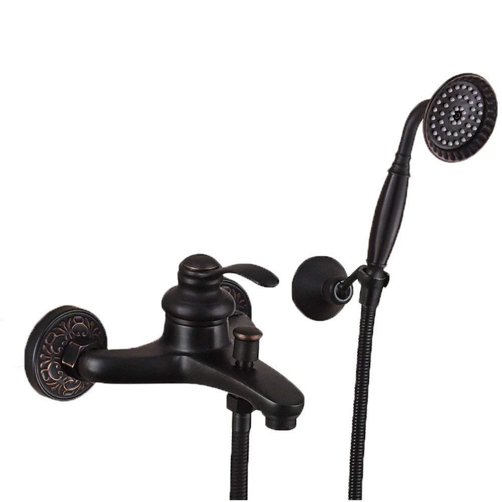 GAOLI Sink Taps Black Shower Set Full Copper Retro Handheld Shower Head Shower Household Bathroom Wall-Mounted Bathtub Faucets