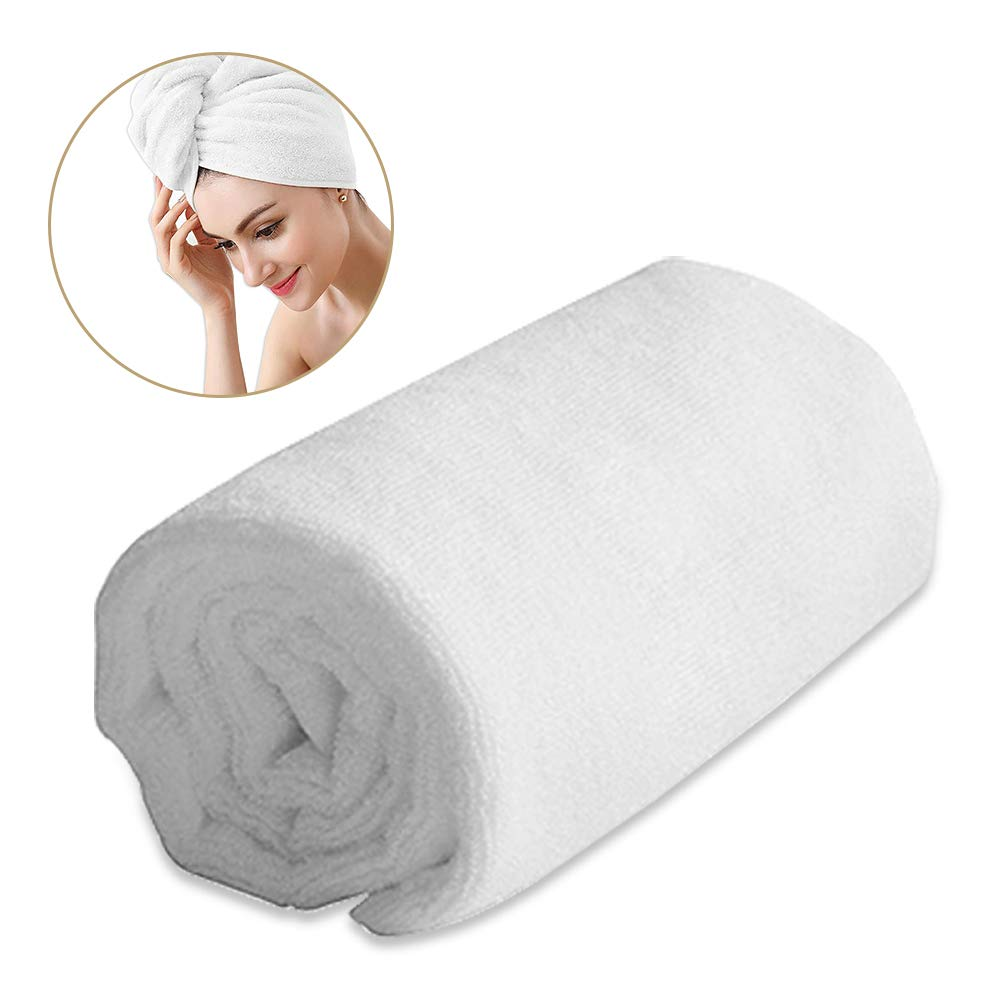 Absorbent Microfiber Drying Hair Towel Wrap Turban Bath Shower Head Towel For Curly/Long/ Thick Hair, Quick Magic Dryer, Wrapped Bath Towels By Duomishu (White)