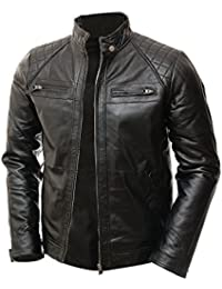 Mens MotoBiker Vintage Shade Cafe Racer Quilted Motorcycle Padded Shoulder Wax Real Lambskin Leather Jacket