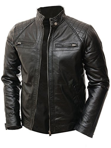 Apparel Biker Leather (Abbraci Men Moto Biker Vintage Shade Cafe Racer Quilted Motorcycle Padded Shoulder Wax Real Lambskin Leather Jacket (Medium, Black))