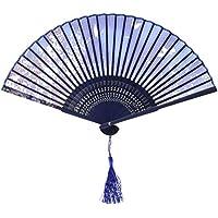 OliaDesign Japanese Handheld Butterfly Silk Handheld Folding Fan, Light Blue, One Size