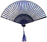 OliaDesign 265B - Abanico de Mano Plegable japonés de Seda, con Mariposa, Color Azul Claro, tamaño único