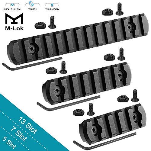 GoldCam M-Lok Picatinny Rail, 13-Slot 7-Slot 5-Slot Mlok Aluminum Picatinny Rails Section for M LOK Systems with 7 T-Nuts & 7 Screws & 3 Allen Wrench, 3 Pack - Black
